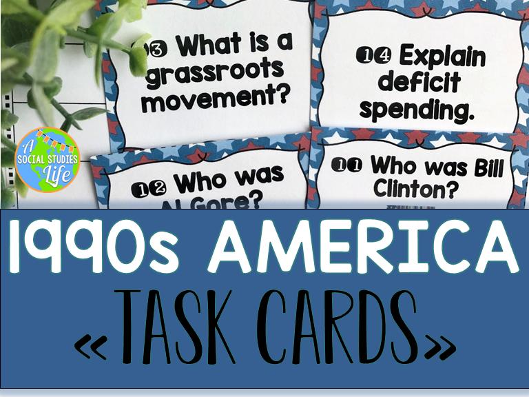 1990s America Task Cards