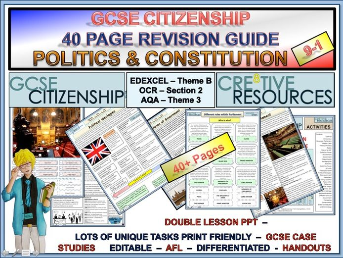 Citizenship GCSE Revision Guide - 40 Pages on Politics and Constitution