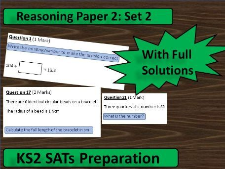 KS2 Maths SATs Paper 2 Reasoning (Set 2)