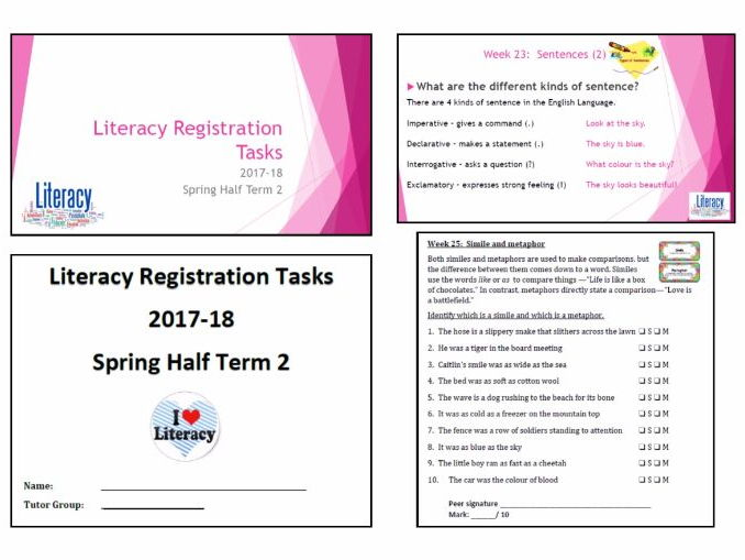 Literacy Activities - Teacher presentation and accompanying student booklet (HT4 wks 22 to 26)