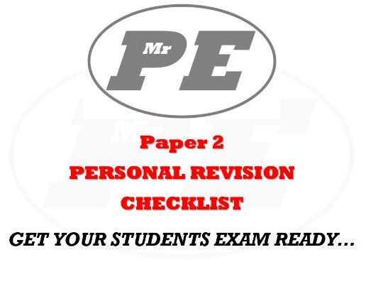 PERSONAL REVISION CHECKLIST Paper 2