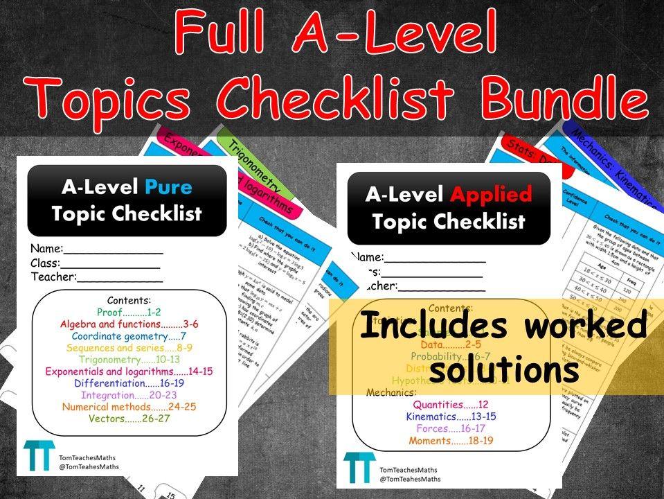 Maths A-Level revision topic checklist bundle