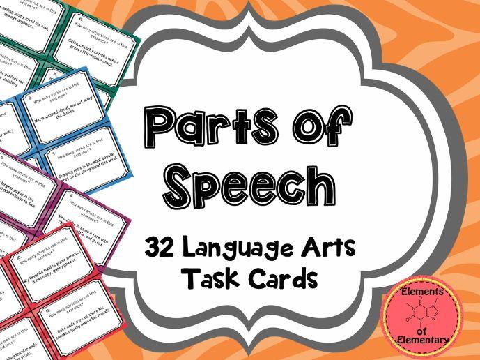 Parts of Speech Task Cards: Nouns, Verbs, Adverbs, Adjectives
