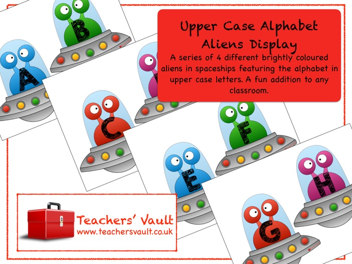 Upper Case Alphabet Aliens Display