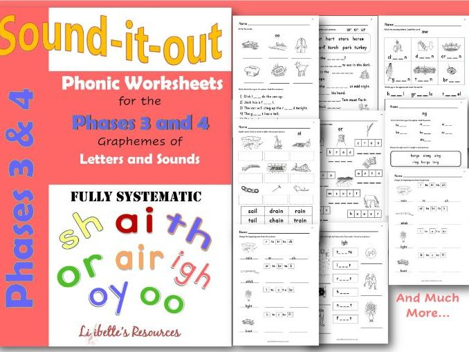 Phonics  Worksheets for Phases 3 and 4