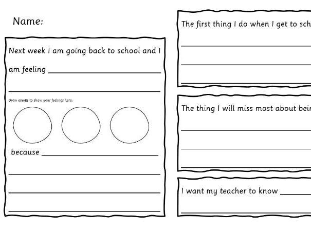 Return to School Reflection Worksheet