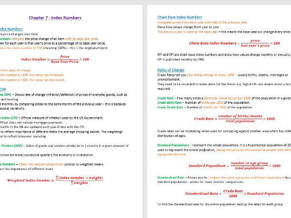 Index Numbers Revision Notes - GCSE Statistics (9-1)