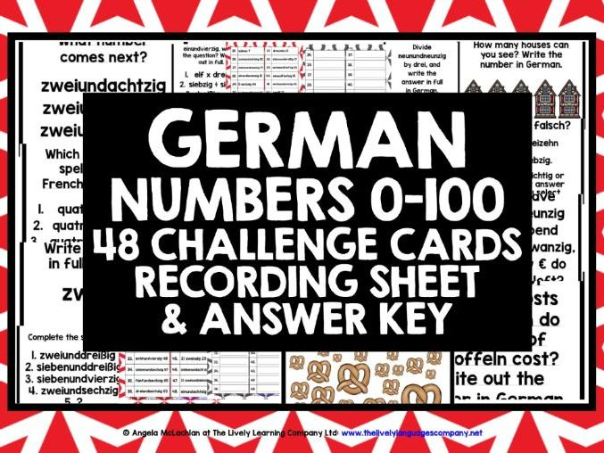 GERMAN NUMBERS 0-100 CHALLENGE CARDS