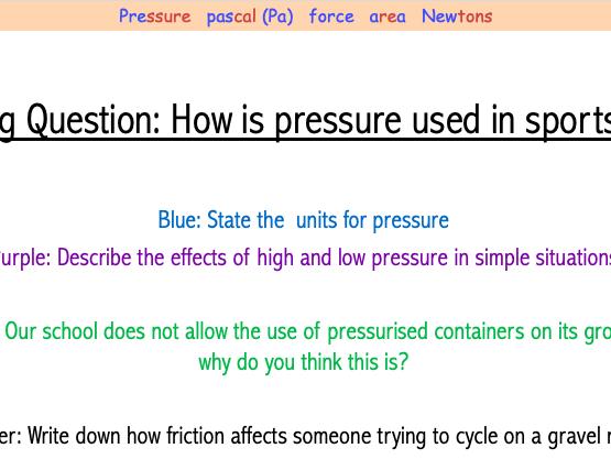 Year 7 Pressure Lesson (7Kd)