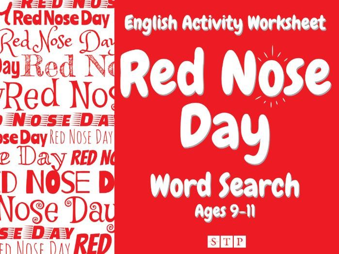 Red Nose Day Word Search (+ Solution!) (English Activity Sheet: Ages 9-11)