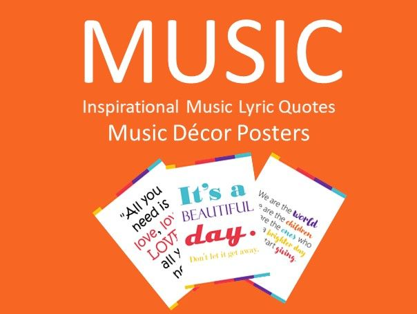 20 Inspirational Music Lyric Quotes - Music Decor Posters