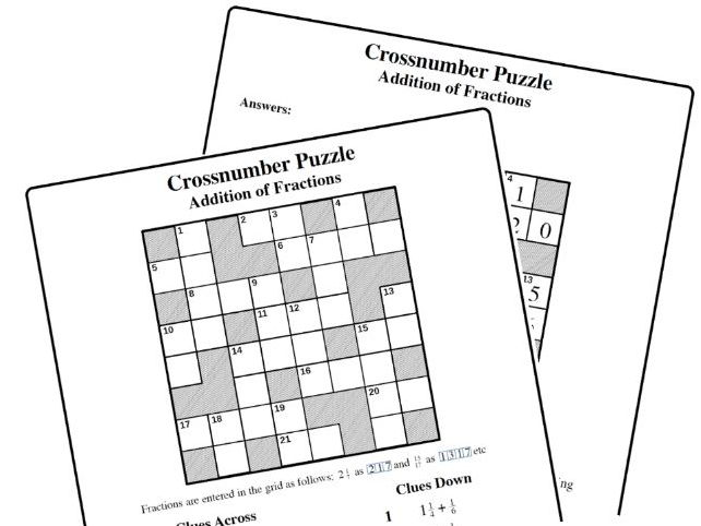 Crossnumber Puzzle: Addition of Fractions