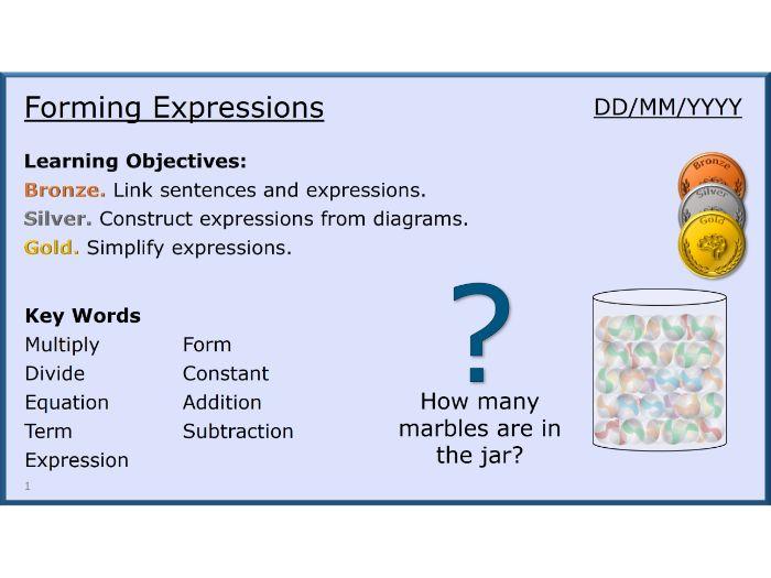 Algebra 03/31 Forming Expressions