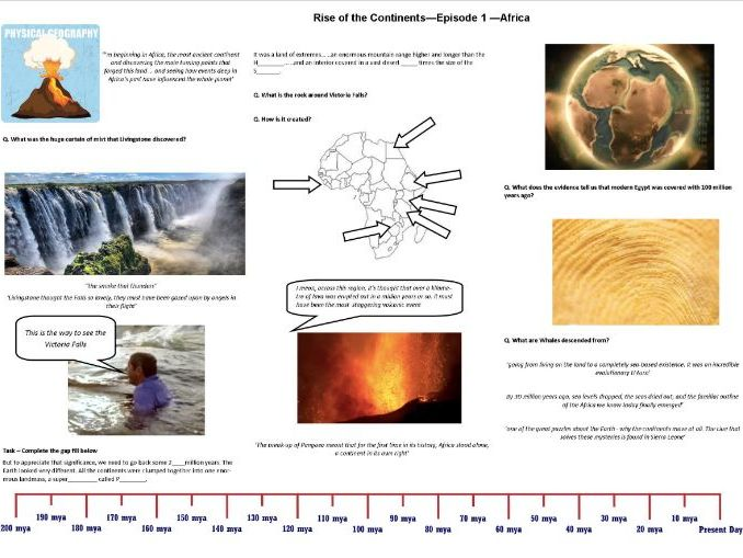 BBC - Rise of the Continents - Ep 1 Africa- Iain Stewart - Worksheet