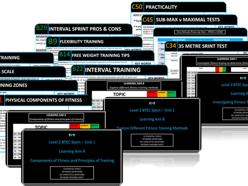 Level 3 BTEC Sport - Skeletal, Muscular, Respiratory, Cardiovascular and Energy Systems Flashcard Pack Bundle