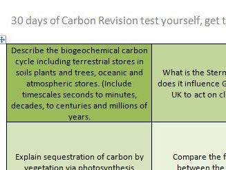 A Level Geography Carbon Cycle Revision 30 days