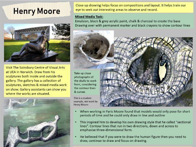 Henry Moore GCSE & A Level artist task worksheet