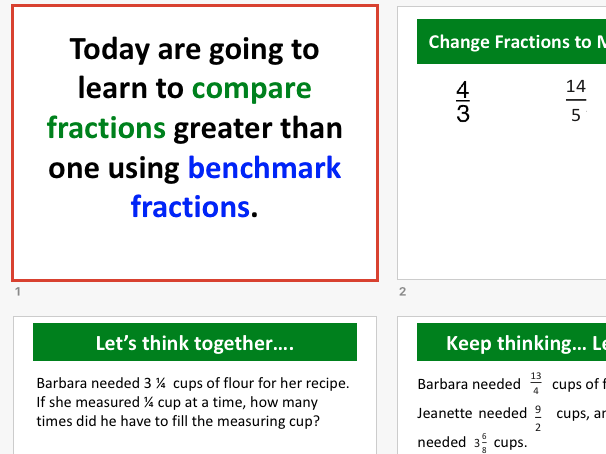 Compare fractions using benchmarks - 4th Grade Lesson