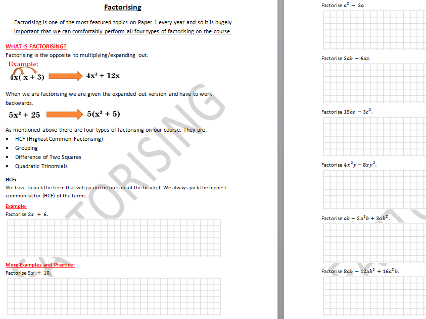 Factorising Booklet of Notes/Practice for Teaching/Revision/Grinds