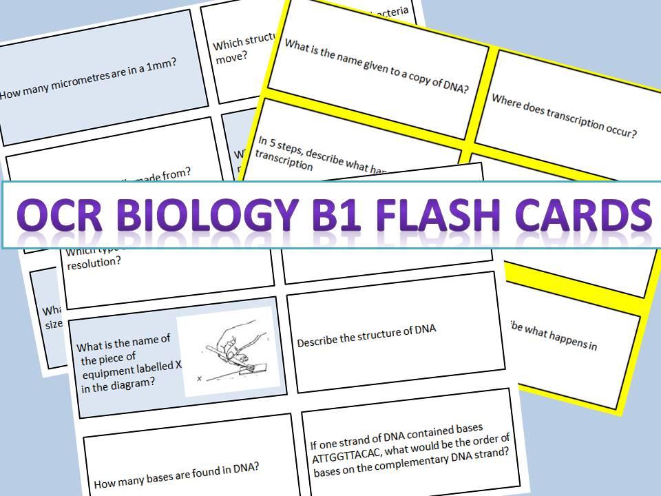 OCR Biology (9-1) GCSE B1 flash cards