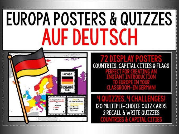 GERMAN - EUROPE POSTER & QUIZ PACK - AUF DEUTSCH!