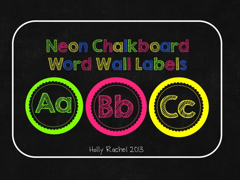 Neon Chalkboard Word Wall Labels