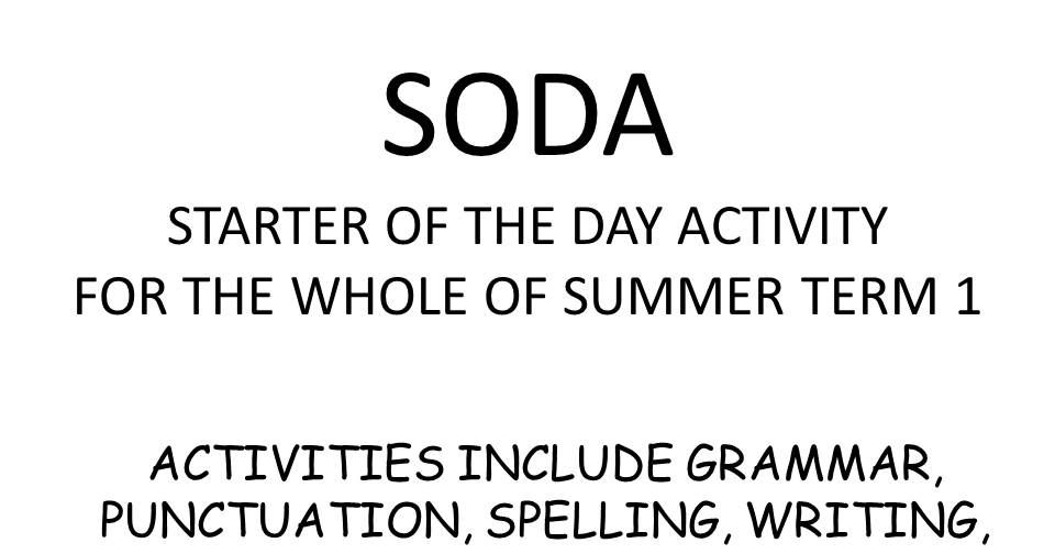 SODA starter of the day for every day of summer term 1