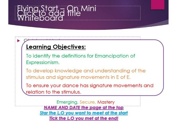 Emancipation of Expressionsim E of E - GCSE Dance powerpoint