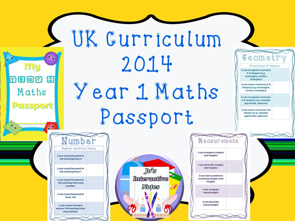 Year 1 National Curriculum Maths Passport