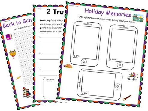 Back to School – Holiday Reflections and Activity Pack