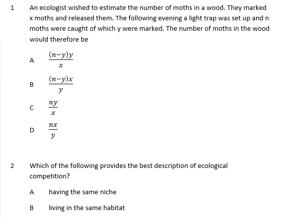 A Level Biology Ecology Multiple Choice with Answers