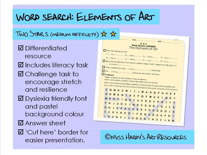Art&Design - Elements of Art - Wordsearch - Medium Difficulty - Starter/Plenary/Homework