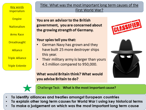 WW1: What were the most important long term causes of the First World War? (Lesson 1)