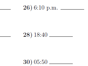 Converting between the 24 hour and 12 hour clock worksheet no 3 (with solutions)