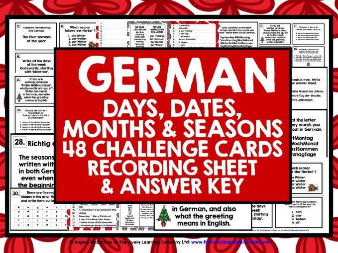 GERMAN DAYS MONTHS SEASONS DATES CHALLENGE CARDS