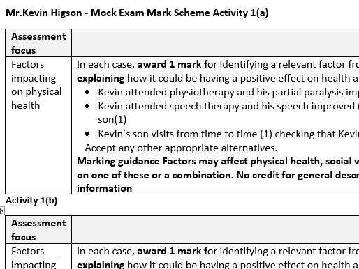 BTEC Tech Award Health and Social Care Component 3 Kevin Higson Mock exam  paper and mark scheme