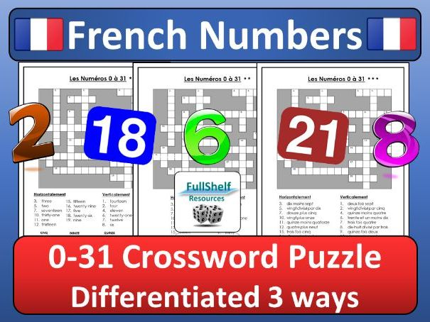 French Numbers Crossword By Fullshelf Teaching Resources