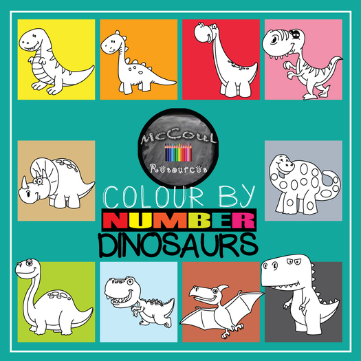Colour by Number Dinosaur Pack