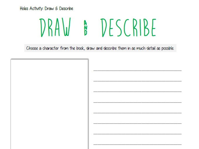 Holes - Draw and Describe a Character KS3