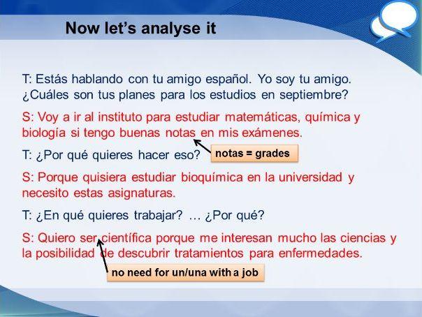 Spanish GCSE Higher school role play