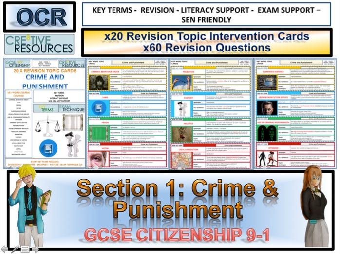 Citizenship GCSE Revision Topic Cards - Crime and Punishment OCR