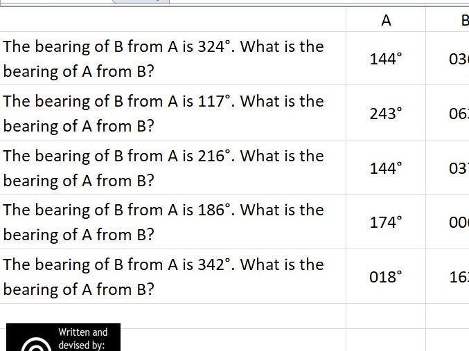 Practice Calculating Bearings FROM and TO Points Interactive Spreadsheet