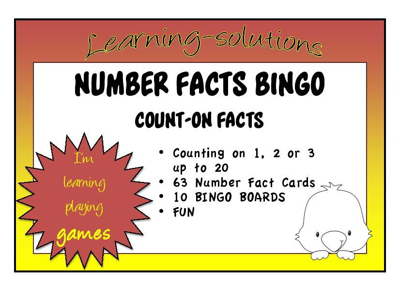 ADDITION NUMBER FACTS -  BINGO GAME  - Count-on Strategy - Adding 1, 2 or 3 by counting on