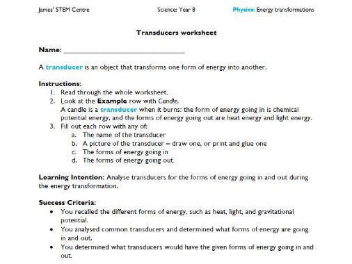 Transducers worksheet answer key - AC Year 8 Science - Physics (energy transformations)