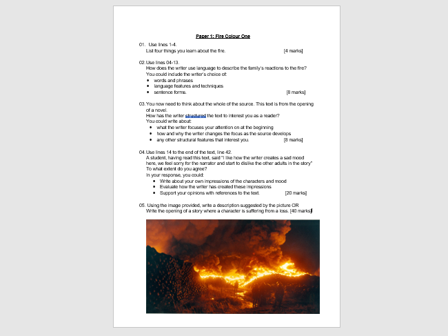 AQA English Language Paper 1 Mock : Fire Colour One