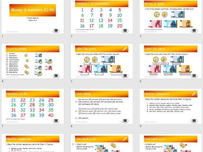 Money and numbers 21-40 (Primary Spanish 6)