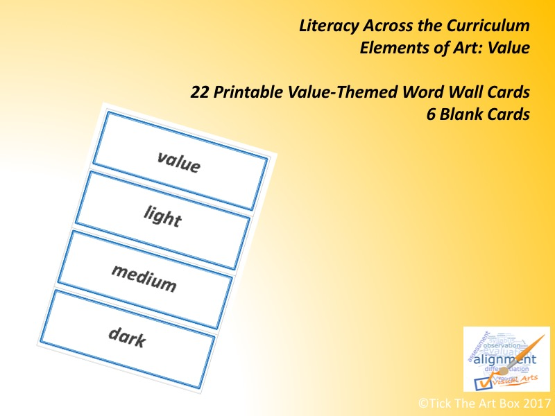 Elements of Art Vocabulary (Word Wall) Cards: VALUE