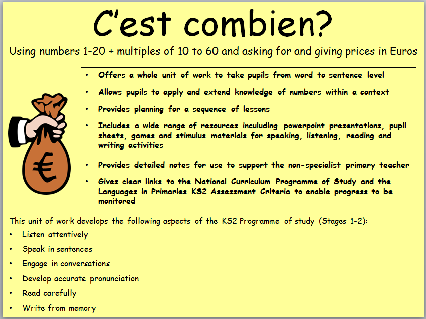 C'est combien - KS2 Unit of work