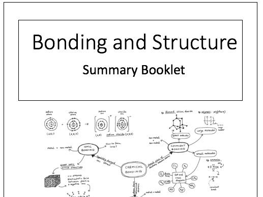 Structure and Bonding Knowledge Organisers/Summary Booklets: GCSE Chemistry