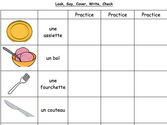 French Table Vocabulary : Revision Worksheet